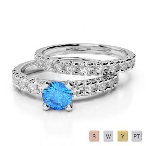 Gold / Platinum Round cut Blue Topaz and Diamond Bridal Set Ring AGDR-1144