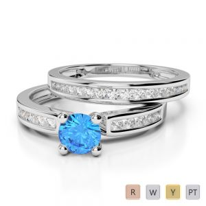Gold / Platinum Round cut Blue Topaz and Diamond Bridal Set Ring AGDR-1157