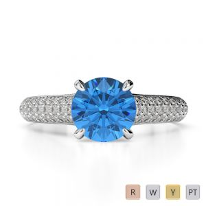 Gold / Platinum Round Cut Blue Topaz and Diamond Engagement Ring AGDR-1203