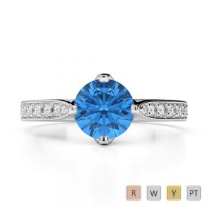 Gold / Platinum Round Cut Blue Topaz and Diamond Engagement Ring AGDR-1204