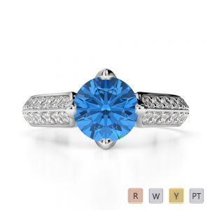 Gold / Platinum Round Cut Blue Topaz and Diamond Engagement Ring AGDR-1205