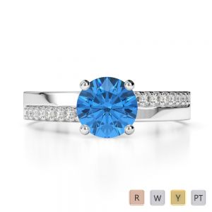Gold / Platinum Round Cut Blue Topaz and Diamond Engagement Ring AGDR-1206