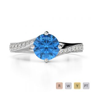 Gold / Platinum Round Cut Blue Topaz and Diamond Engagement Ring AGDR-1207