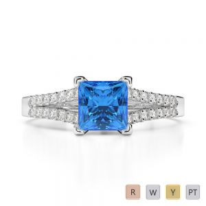 Gold / Platinum Round and Princess Cut Blue Topaz and Diamond Engagement Ring AGDR-1211