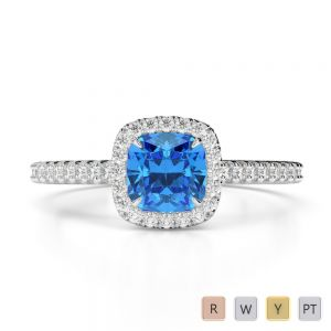 Gold / Platinum Round and Cushion Cut Blue Topaz and Diamond Engagement Ring AGDR-1212