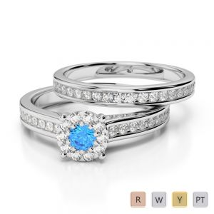 Gold / Platinum Round cut Blue Topaz and Diamond Bridal Set Ring AGDR-1339