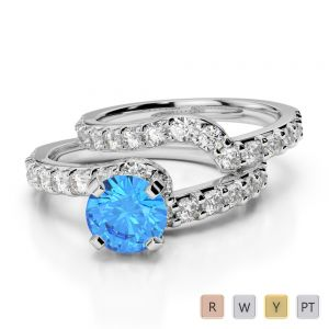 Gold / Platinum Round cut Blue Topaz and Diamond Bridal Set Ring AGDR-2003
