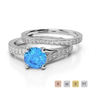 Gold / Platinum Round cut Blue Topaz and Diamond Bridal Set Ring AGDR-2011