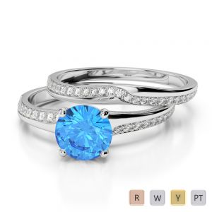 Gold / Platinum Round cut Blue Topaz and Diamond Bridal Set Ring AGDR-2015