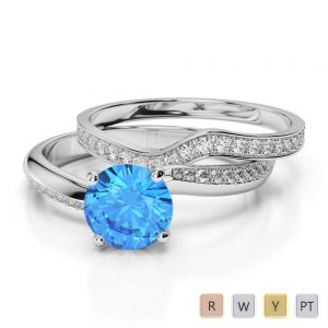 Gold / Platinum Round cut Blue Topaz and Diamond Bridal Set Ring AGDR-2017