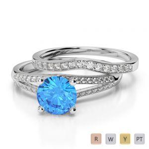 Gold / Platinum Diamond & Gemstone Bridal Set Ring AGDR-2037