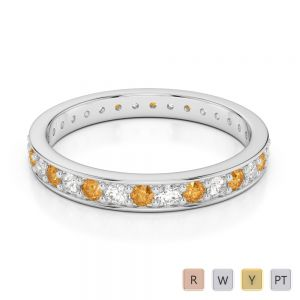 2.5 MM Gold / Platinum Round Cut Citrine and Diamond Full Eternity Ring AGDR-1079