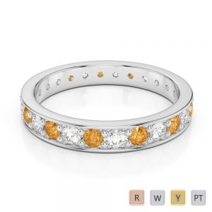 Gold / Platinum Round Cut Citrine and Diamond Full Eternity Ring AGDR-1080
