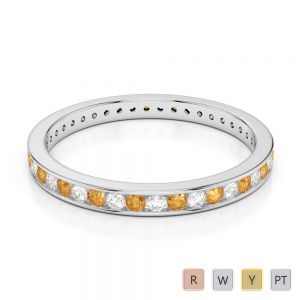 Gold / Platinum Round Cut Citrine and Diamond Full Eternity Ring AGDR-1086
