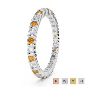 Gold / Platinum Round Cut Citrine and Diamond Full Eternity Ring AGDR-1092