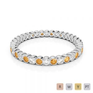 Gold / Platinum Round Cut Citrine and Diamond Full Eternity Ring AGDR-1098