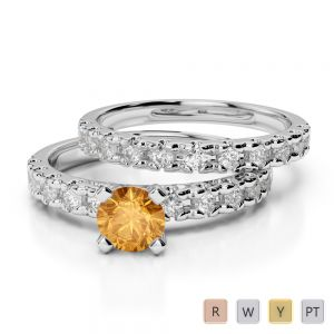Gold / Platinum Round cut Citrine and Diamond Bridal Set Ring AGDR-1144
