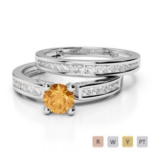 Gold / Platinum Round cut Citrine and Diamond Bridal Set Ring AGDR-1157