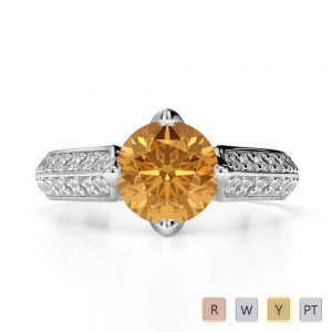 Gold / Platinum Round Cut Citrine and Diamond Engagement Ring AGDR-1205