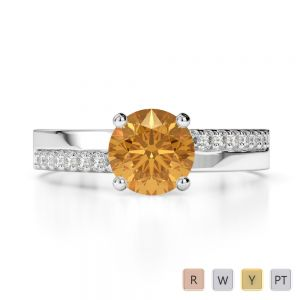 Gold / Platinum Round Cut Citrine and Diamond Engagement Ring AGDR-1206