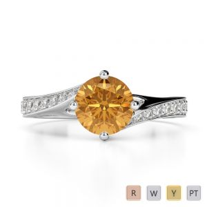 Gold / Platinum Round Cut Citrine and Diamond Engagement Ring AGDR-1207