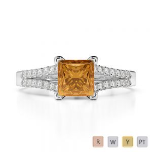 Gold / Platinum Round and Princess Cut Citrine and Diamond Engagement Ring AGDR-1211
