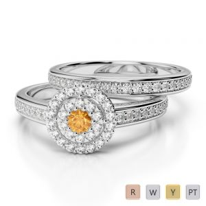 Gold / Platinum Round cut Citrine and Diamond Bridal Set Ring AGDR-1239