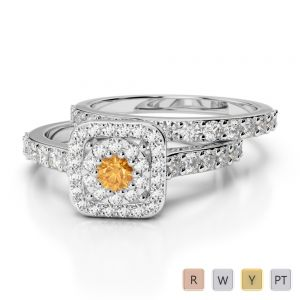 Gold / Platinum Round cut Citrine and Diamond Bridal Set Ring AGDR-1246