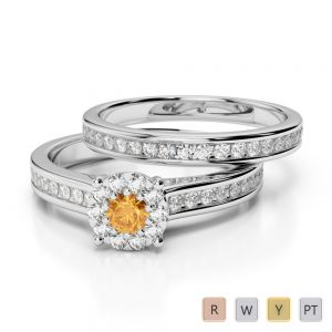 Gold / Platinum Round cut Citrine and Diamond Bridal Set Ring AGDR-1339