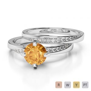Gold / Platinum Round cut Citrine and Diamond Bridal Set Ring AGDR-2001