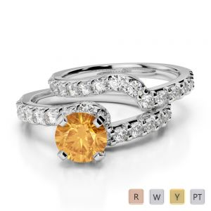 Gold / Platinum Round cut Citrine and Diamond Bridal Set Ring AGDR-2003