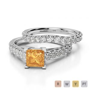 Gold / Platinum Round and Princess cut Citrine and Diamond Bridal Set Ring AGDR-2007
