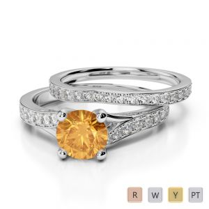 Gold / Platinum Round cut Citrine and Diamond Bridal Set Ring AGDR-2011