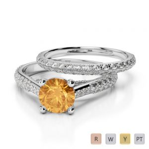 Gold / Platinum Round cut Citrine and Diamond Bridal Set Ring AGDR-2013
