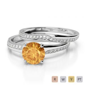 Gold / Platinum Round cut Citrine and Diamond Bridal Set Ring AGDR-2015