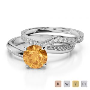 Gold / Platinum Round cut Citrine and Diamond Bridal Set Ring AGDR-2017