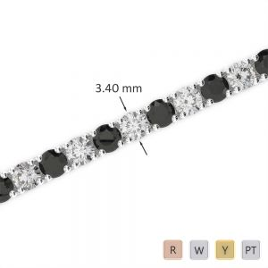 Gold / Platinum Round Cut Black Diamond with Diamond Bracelet AGBRL-1009