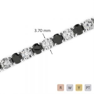 Gold / Platinum Round Cut Black Diamond with Diamond Bracelet AGBRL-1010
