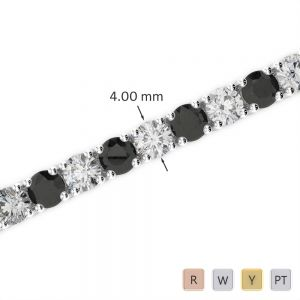 Gold / Platinum Round Cut Black Diamond with Diamond Bracelet AGBRL-1011