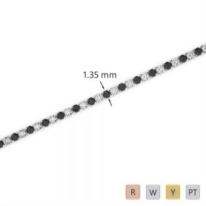 Gold / Platinum Round Cut Black Diamond with Diamond Bracelet AGBRL-1012