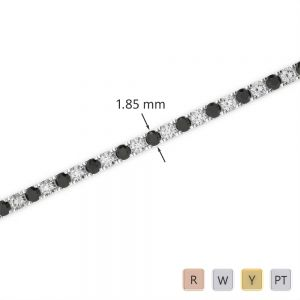 Gold / Platinum Round Cut Black Diamond with Diamond Bracelet AGBRL-1013