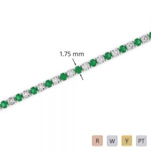 Gold / Platinum Round Cut Emerald and Diamond Bracelet AGBRL-1002
