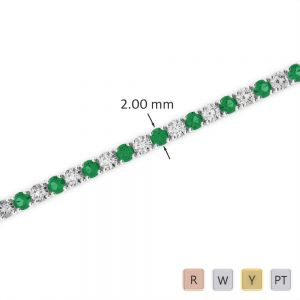 Gold / Platinum Round Cut Emerald and Diamond Bracelet AGBRL-1003