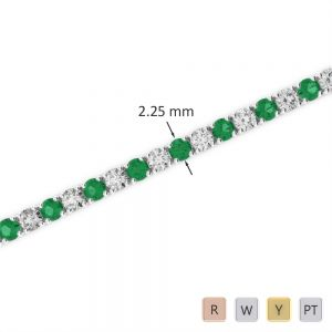 Gold / Platinum Round Cut Emerald and Diamond Bracelet AGBRL-1004