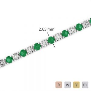 Gold / Platinum Round Cut Emerald and Diamond Bracelet AGBRL-1007