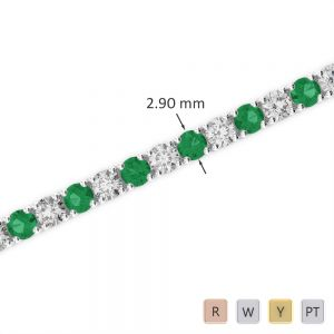 Gold / Platinum Round Cut Emerald and Diamond Bracelet AGBRL-1008