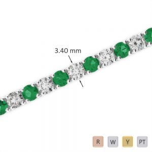 Gold / Platinum Round Cut Emerald and Diamond Bracelet AGBRL-1009