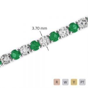 Gold / Platinum Round Cut Emerald and Diamond Bracelet AGBRL-1010