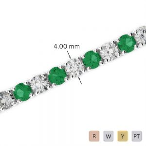 Gold / Platinum Round Cut Emerald and Diamond Bracelet AGBRL-1011