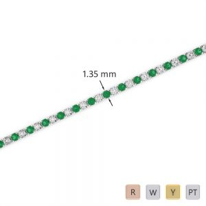 Gold / Platinum Round Cut Emerald and Diamond Bracelet AGBRL-1012